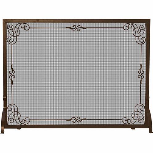 Blue Rhino Single Panel Bronze Finish Fireplace Screen