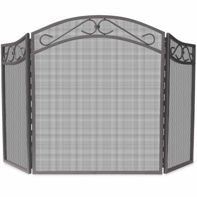 3 Fold Bronze Wrought Iron Arch Fireplace Screen