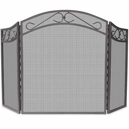 Blue Rhino 3 Fold Bronze Wrought Iron Arch Fireplace Screen