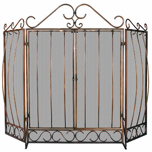 Blue Rhino 3 Fold Venetian Bronze Fireplace Screen