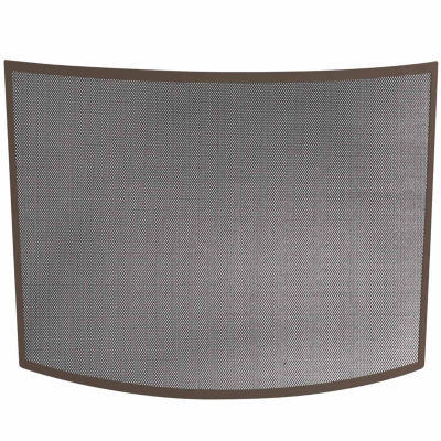 Single Panel Curved Bronze Fireplace Screen