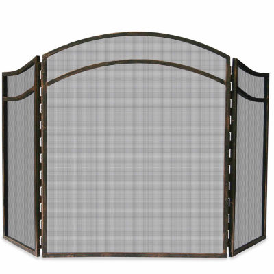 3 Fold Antique Rust Wrought Iron Fireplace Screen