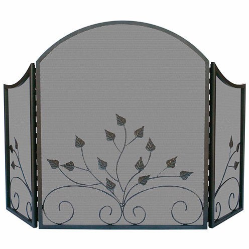 Blue Rhino 3 Fold Arch Graphite Fireplace Screen with Leaves