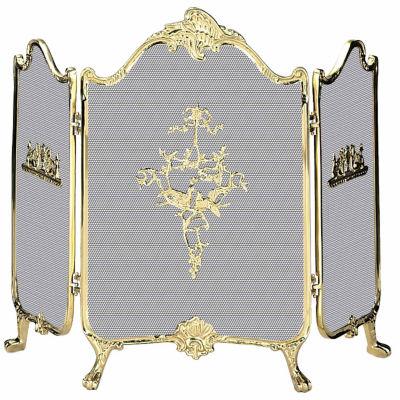 3 Fold Ornate Cast Solid Brass Fireplace Screen