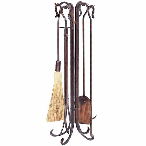 Blue Rhino Antique Copper Hammered Fireplace Tool Set