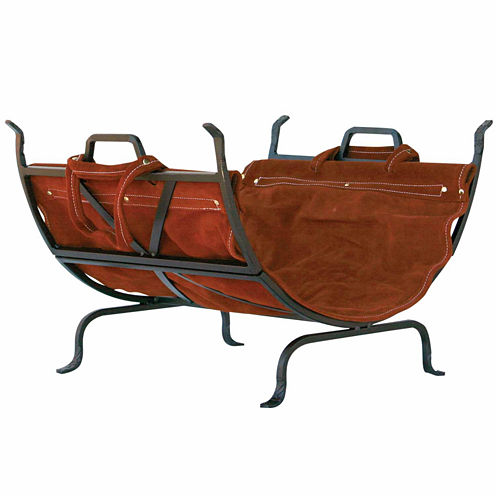 Blue Rhino Olde World Iron Log Holder with Suede Leather Carrier