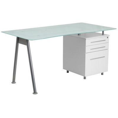 Glass Computer Desk with Three Drawer Pedestal