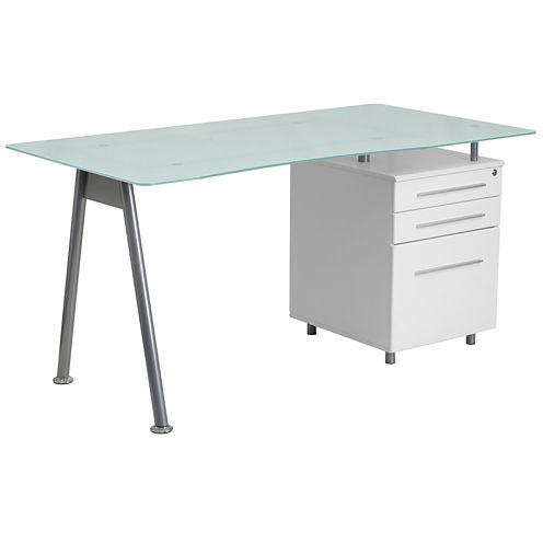 Three Drawer Glass Desk