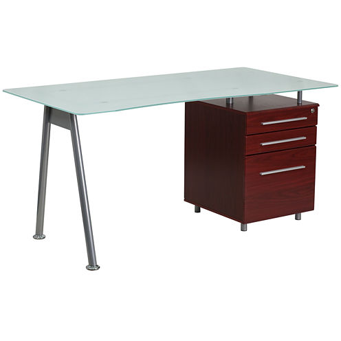 Three Drawer Glass Desk