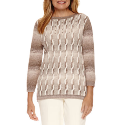 Alfred Dunner Twilight Point 3/4 Sleeve Crew Neck Pullover Sweater