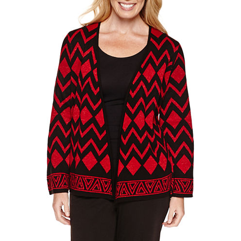 Alfred Dunner Tis The Season 3/4 Sleeve Cardigan