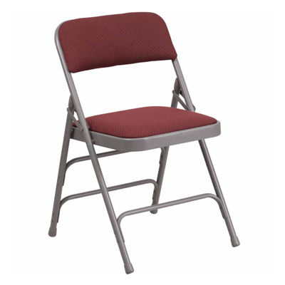 HERCULES Series Curved Triple Braced & Double Hinged Fabric Upholstered Metal Folding Chair
