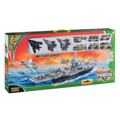 Daron Aircraft Carrier Bp96243 Playset W/ 3 Planes And Vehicles