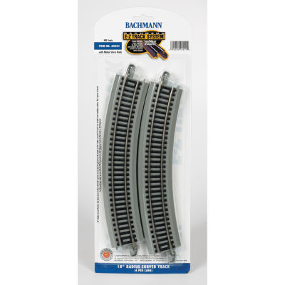 "Bachmann Trains 18"" Radius Curved Nickel SilverE-Z Track (4/Card) - Ho Scale"
