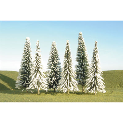 "Bachmann Trains 5""- 6"" Pine Trees With Snow (6 PerBox) - Ho Scale"""
