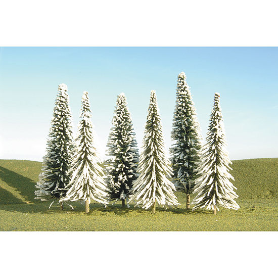 """Bachmann Trains 5""""- 6"""" Pine Trees With Snow (6 PerBox) - Ho Scale"""""""