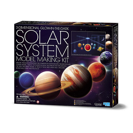 4M 3D Glow-In-The-Dark Solar System Model Making Science Kit - Stem