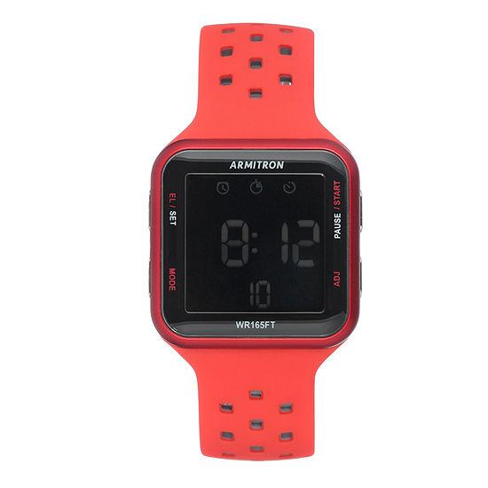 Armitron Pro Sport Unisex Red Strap Watch-40/8417red