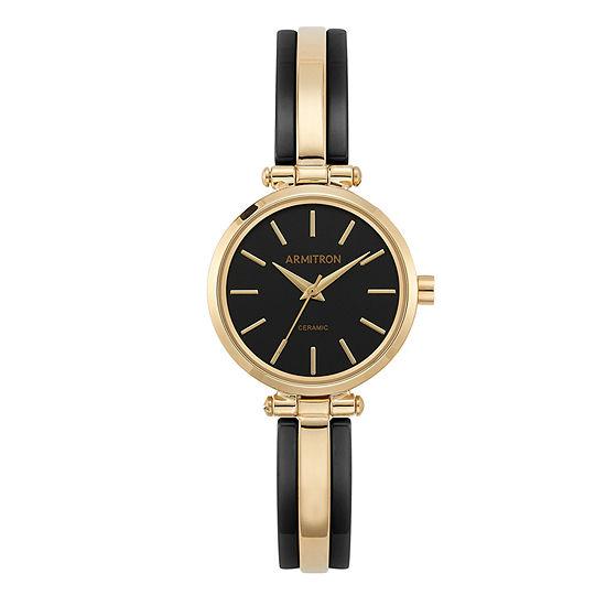 Armitron Womens Gold Tone Bangle Watch 75 5523bkgp