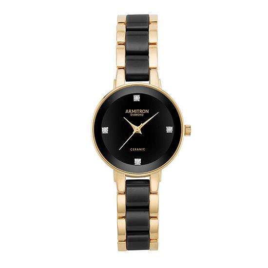 Armitron Womens Gold Tone Bracelet Watch-75/5532bkgp