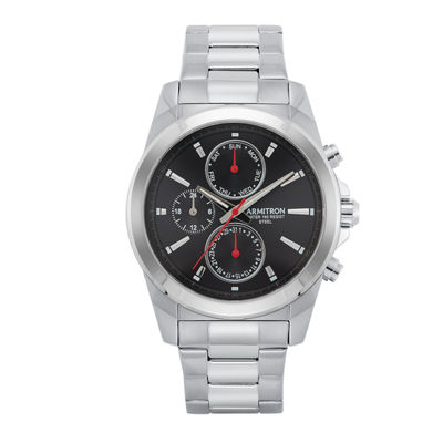 Armitron All Sport Mens Silver Tone Bracelet Watch-20/5250bksv