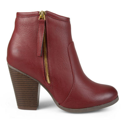 Journee Collection Womens Jolie Bootie Stacked Heel Zip