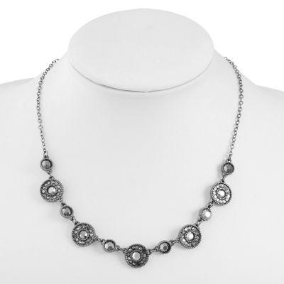 Liz Claiborne Womens Gray Round Collar Necklace
