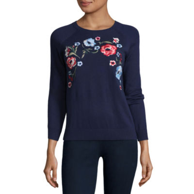 St. John's Bay Long Sleeve Crew Neck Floral Pullover Sweater - Tall