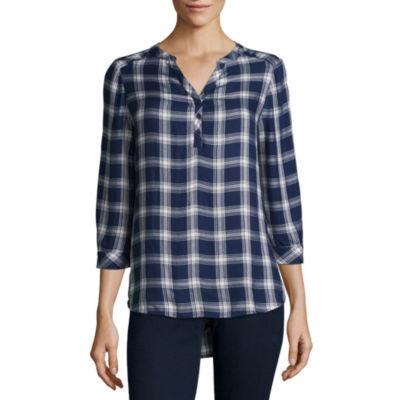 St. John's Bay Long Sleeve Fitted Sleeve Henley Shirt - Tall