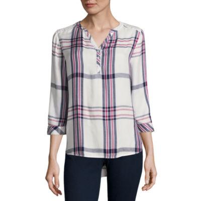 St. John's Bay Long Sleeve Fitted Sleeve Henley Shirt Talls