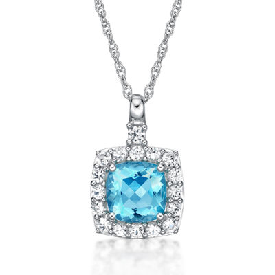Womens Simulated Aquamarine Sterling Silver Pendant Necklace