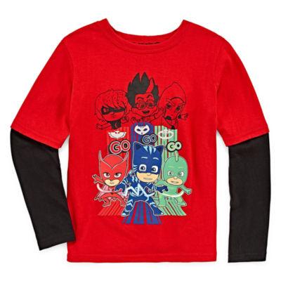 Long Sleeve Crew Neck T-Shirt-Toddler Boys