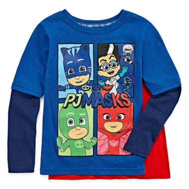 Long Sleeve Crew Neck T-Shirt with Velcrow Cape Toddler Boys