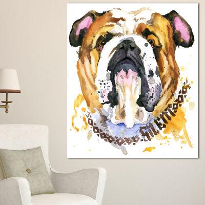 Designart Brown Aggressive Dog Head Animal CanvasWall Art - 3 Panels