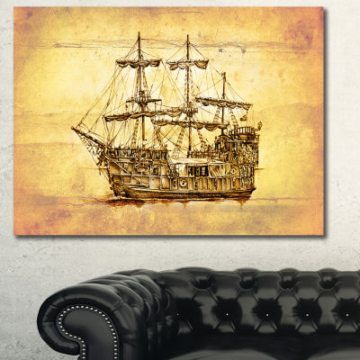 Designart Brown Ancient Moving Boat Seashore WallArt On Canvas