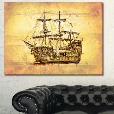 Designart Brown Ancient Moving Boat Seashore WallArt On Canvas - 3 Panels