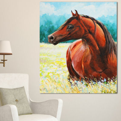 Design Art Brown Arabian Horse Painting Abstract Canvas Art Print - 3 Panels
