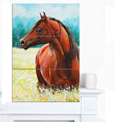 Designart Brown Arabian Horse Painting Abstract Canvas Art Print - 3 Panels