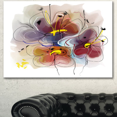 Designart Brown Blue Flower Illustration Art ExtraLarge Floral Wall Art - 3 Panels
