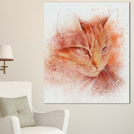 Designart Brown Cat Face Sketch On White Large Animal Canvas Artwork