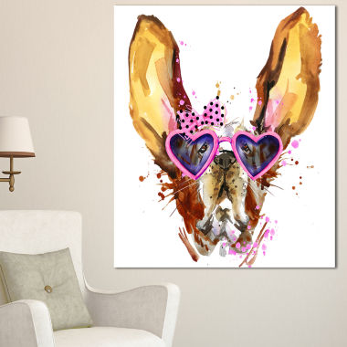 Design Art Brown Cute Dog With Heart Glasses Animal Canvas Wall Art