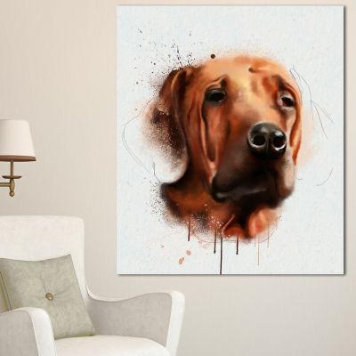Designart Brown Dog Face Watercolor Animal CanvasArt Print