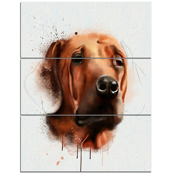 Design Art Brown Dog Face Watercolor Animal CanvasArt Print - 3 Panels