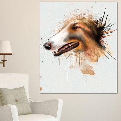 Designart Brown Dog Portrait Watercolor OversizedAnimal Wall Art