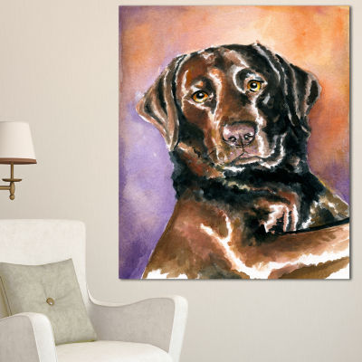 Designart Brown Dog Watercolor Abstract Canvas ArtPrint