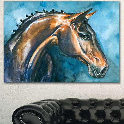 Designart Brown Horse On Blue Watercolor AbstractCanvas Art Print - 3 Panels