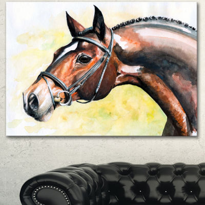 Designart Brown Horse Portrait Painting AbstractCanvas Art Print - 3 Panels