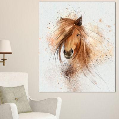 Designart Brown Horse Portrait Watercolor AnimalCanvas Art Print - 3 Panels