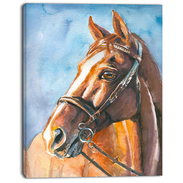 Designart Brown Horse With Bridle Abstract CanvasArt Print