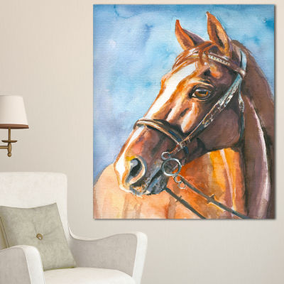 Designart Brown Horse With Bridle Abstract CanvasArt Print - 3 Panels